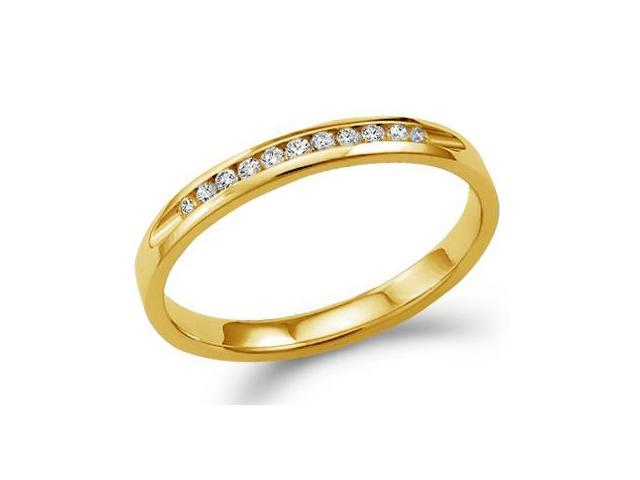 14k Yellow Gold Round Cut Eleven Diamond Ladies Womens Channel Set 11 Stone Wedding or Anniversary Ring Band (1/8 cttw, G - H Color, SI2 Clarity)