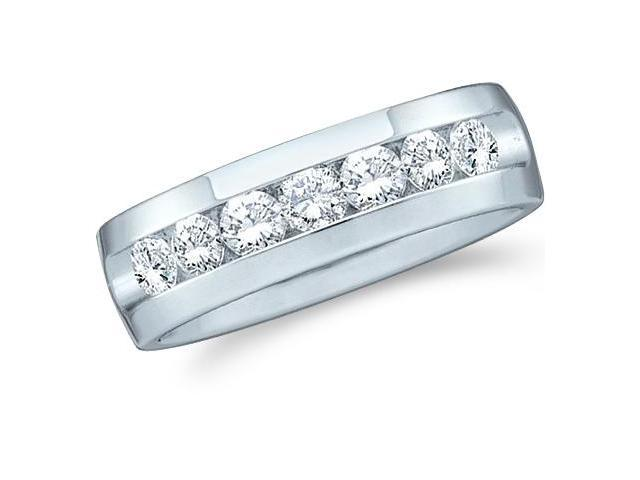 14k White Gold Seven 7 Stone Channel Set Round Cut Mens Diamond Wedding Ring Band 7mm (1.03 cttw, G - H Color, SI2 Clarity)