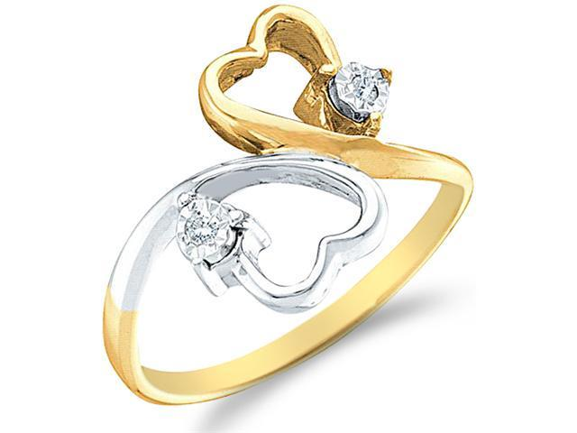 10k Yellow and White Two 2 Tone Gold Two 2 Heart Shape Love Round Cut Ladies Diamond Fashion Ring Band  (.03 cttw, H Color, I1 Clarity)