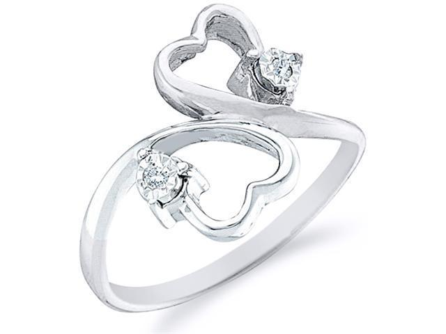 10k White and Yellow Two 2 Tone Gold Two 2 Heart Shape Love Round Cut Ladies Diamond Fashion Ring Band  (.03 cttw, H Color, I1 Clarity)