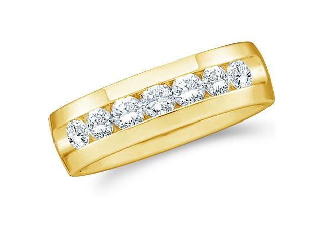 14k Yellow Gold Seven 7 Stone Channel Set Round Cut Mens Diamond Wedding Ring Band 7mm (1.03 cttw, G - H Color, SI2 Clarity)