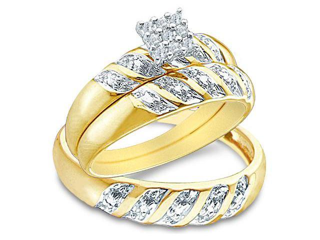 10k Yellow and White 2 Two Tone Gold Trio 3 Three Ring Matching Engagement Wedding Ring Band Set - Round Diamonds - Princess Shape Center Setting (.09 cttw, H Color, I1 Clarity)