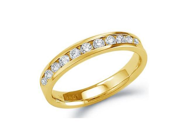 14k Yellow Gold Round Cut Eleven Diamond Ladies Womens Channel Set 11 Stone Wedding or Anniversary 3mm Ring Band (1/4 cttw, G - H Color, SI2 Clarity)