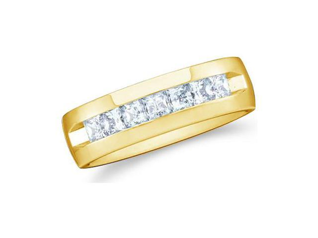14k Yellow Gold Seven 7 Stone Channel Invisible Set Princess Cut Mens Diamond Wedding Ring Band 7mm (1.03 cttw, G - H Color, SI2 Clarity)