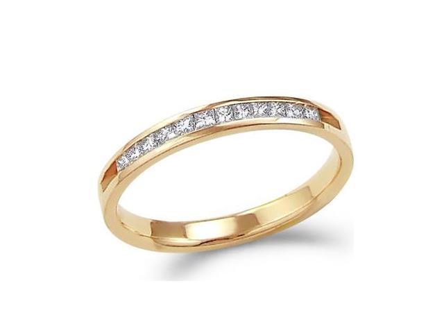 14k Yellow Gold Princess Cut Channel Set Diamond Ladies Womens Wedding or Anniversary 2mm Ring Band (1/4 cttw, G - H Color, SI2 Clarity)