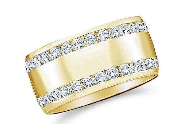 14k Yellow Gold Round Cut Diamond Two Row Ladies Womens Channel Set Wide Wedding or Anniversary 8mm Ring Band (.53 cttw, G - H Color, SI2 Clarity)