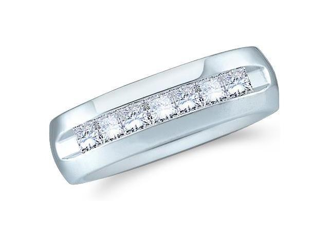 14k White Gold Seven 7 Stone Channel Invisible Set Princess Cut Mens Diamond Wedding Ring Band 7mm (1.53 cttw, G - H Color, SI2 Clarity)