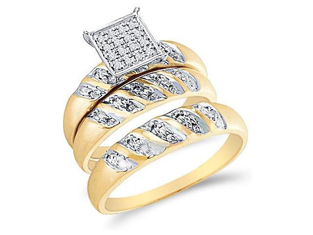 10k Yellow and White 2 Two Tone Gold Trio 3 Three Ring Matching Engagement Wedding Ring Band Set - Round Diamonds - Micro Pave Princess Shape Center Setting (.08 cttw, H Color, I1 Clarity)