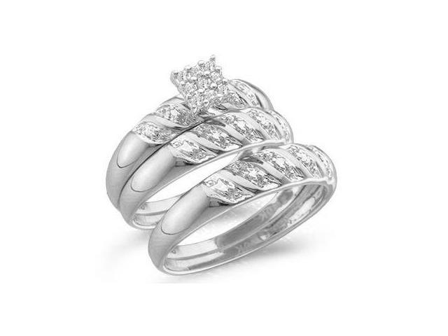 10k White Gold Trio 3 Three Ring Matching Engagement Wedding Ring Band Set - Round Diamonds - Princess Shape Center Setting (.09 cttw, H Color, I1 Clarity)