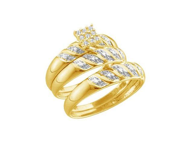 10k Yellow Gold Trio 3 Three Ring Matching Engagement Wedding Ring Band Set - Round Diamonds - Princess Shape Center Setting (.09 cttw, H Color, I1 Clarity)