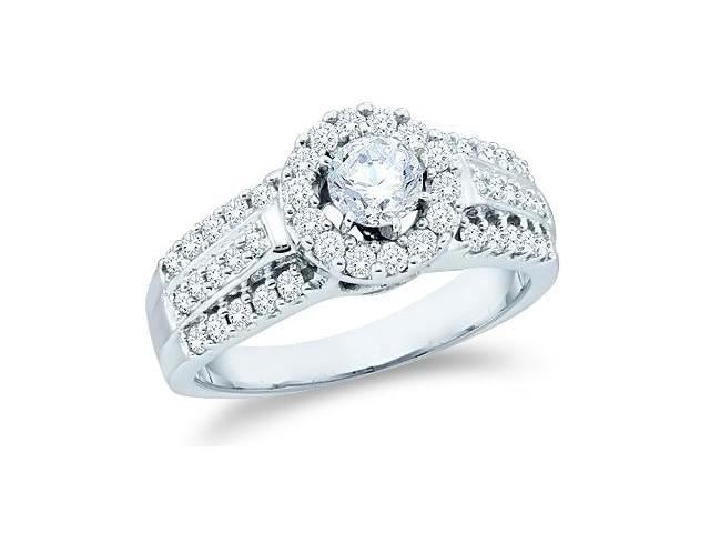 14k White Gold Diamond Engagement Wedding Solitaire with Side Stones Channel Set Halo Round Brilliant Cut Diamond Ring  (1.0 cttw, 2/5 ct Center, G - H Color, SI2 Clarity)