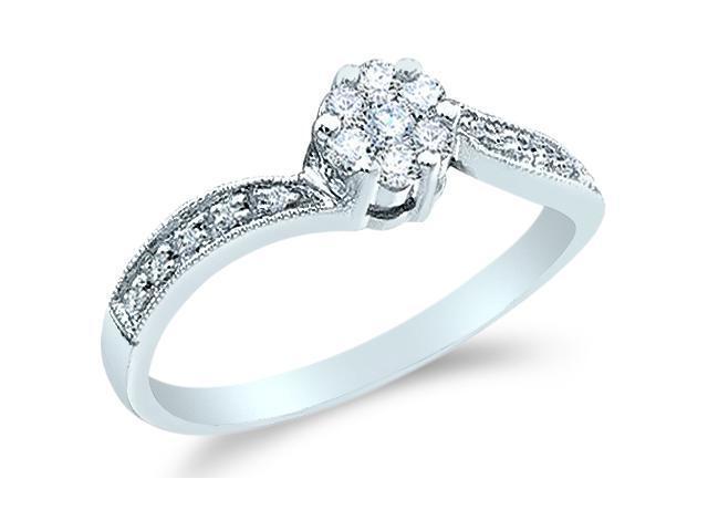 10k White Gold Diamond Engagement Channel Set Flower Shape Center  Round Brilliant Cut Diamond Ring 6mm (1/4 cttw, G - H Color, SI2 Clarity)