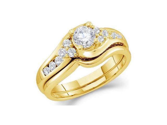 14k Yellow Gold Diamond Engagement Ring Wedding Band Two 2 Ring Set Solitaire Style Center Setting Side Stones Round Cut Diamond Ring  (1.0 cttw, 2/5 ct Center, G - H Color, SI2 Clarity)