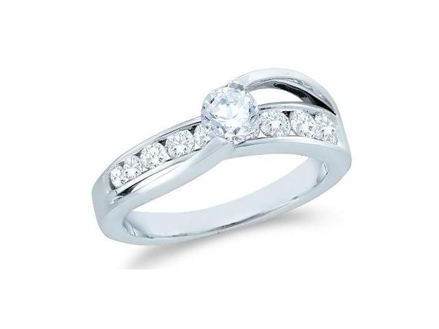 14k White Gold Diamond Engagement Wedding Solitaire Channel Set Cross Over Band Round Brilliant Cut Diamond Ring  (1.0 cttw, 2/5 ct Center, G - H Color, SI2 Clarity)