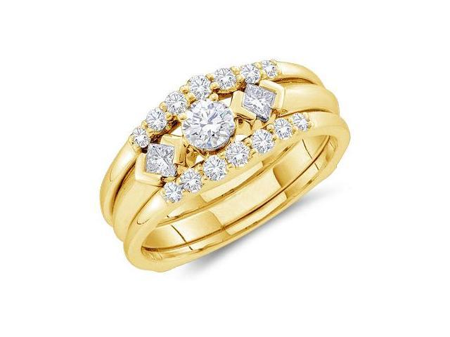 14k Yellow Gold Diamond Engagement Ring & Wedding Band Three 3 Ring Set Solitaire Three 3 Stone Style Center SettingDiamond Ring (3/4 cttw, 1/5 ct Center, G - H Color, SI2 Clarity)
