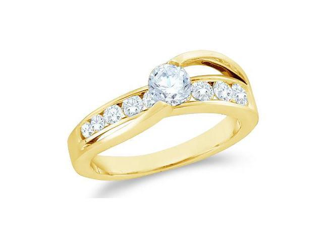 14k Yellow Gold Diamond Engagement Wedding Solitaire Channel Set Cross Over Band Round Brilliant Cut Diamond Ring  (1.0 cttw, 2/5 ct Center, G - H Color, SI2 Clarity)