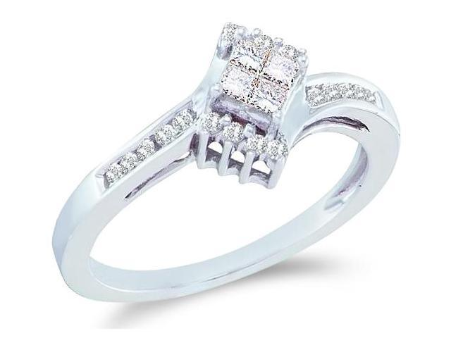 14k White Gold Diamond Engagement Solitaire Invisible Style Center Setting with Side Stones Princess and Round Brilliant Cut Diamond Ring  (1/4 cttw, H Color, I1 Clarity)