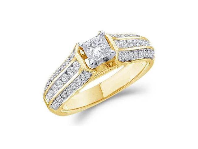 14k Yellow Gold Diamond Engagement Solitaire with Side Stones Channel Set Princess and Round Brilliant Cut Diamond Ring 5mm (.99 cttw, 2/5 ct Center, G - H Color, SI2 Clarity)