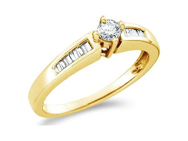 10k Yellow Gold Diamond Engagement Solitaire with Side Stones Channel Set Round Brilliant and Baguette Cut Diamond Ring 5mm (1/4 cttw, H Color, I1 Clarity)