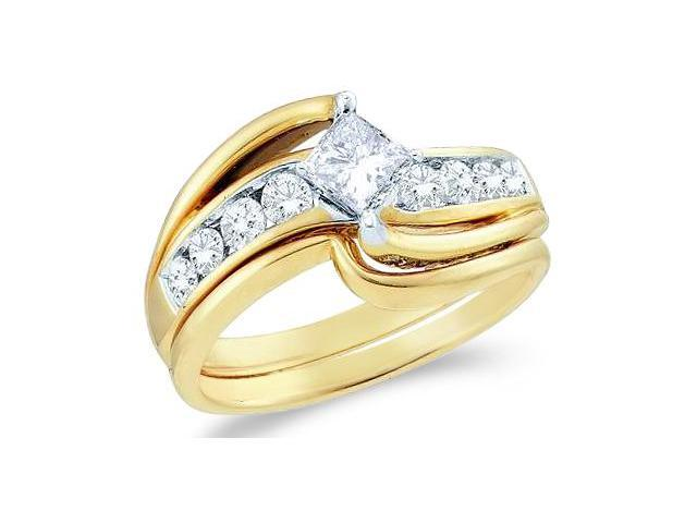 14k Yellow Gold Diamond Engagement Ring Wedding Band Two 2 Ring Set Solitaire Style Center Setting Cross OverDiamond Ring (1.0 cttw, 2/5 ct Center, G - H Color, SI2 Clarity)