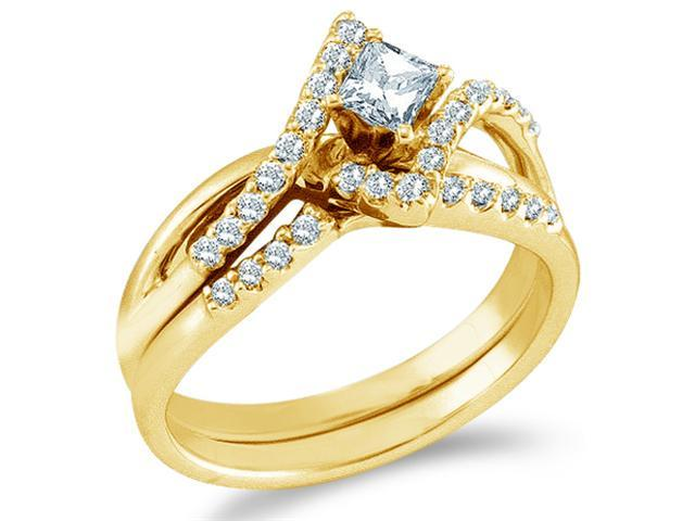 14k Yellow Gold Diamond Engagement Ring Wedding Band Two 2 Ring Set Solitaire Side Stones Cross OverDiamond Ring10mm (1/2 cttw, 1/5 ct Center, G - H Color, SI2 Clarity)