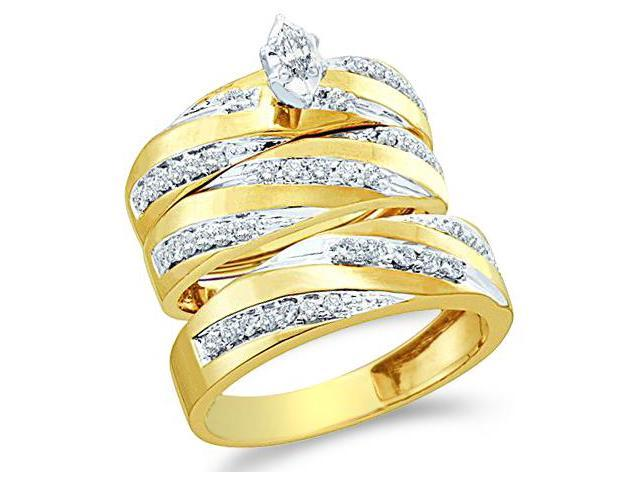 10k Yellow and White 2 Two Tone Gold Trio 3 Three Ring Matching Engagement Wedding Ring Band Set - Marquise and Round Diamonds - Solitaire Center Setting (.77 cttw, H Color, I1 Clarity)