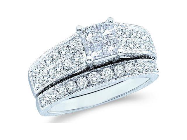 14k White Gold Diamond Engagement Ring Wedding Band Two 2 Ring Set Solitaire Style Center Setting Side Stones Princess and Round Cut Diamond Ring  (3/4 cttw, G - H Color, SI2 Clarity)