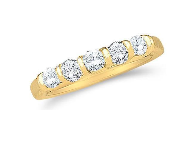 14k Yellow Gold Round Cut Five Diamond Ladies Womens 5 Stone Wedding or Anniversary Ring Band (1.50 cttw, G - H Color, SI2 Clarity)