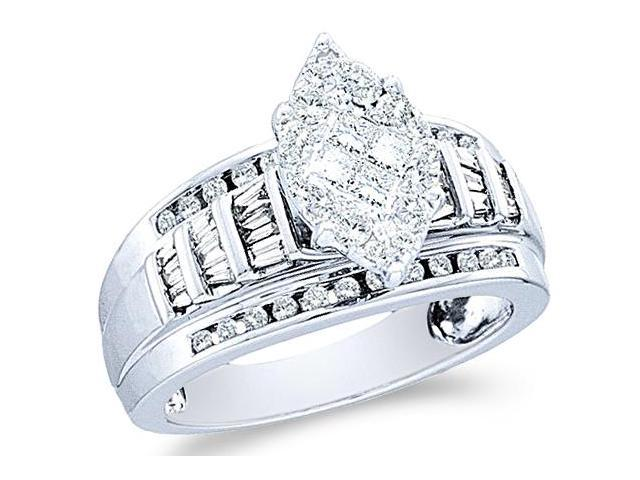 14k White Gold Diamond Engagement Wedding Solitaire Style Center Setting Marquise Shape Center Side Stones Princess , Round & Baguette Cut Diamond Ring  (.92 cttw, H Color, I1 Clarity)