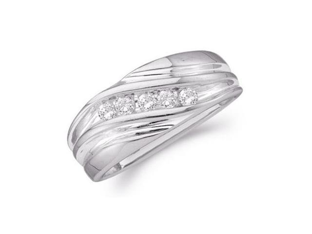 14k White Gold Five 5 Stone Channel Set Round Cut Mens Diamond Wedding Ring Band 9mm (1/4 cttw, H Color, I1 Clarity)