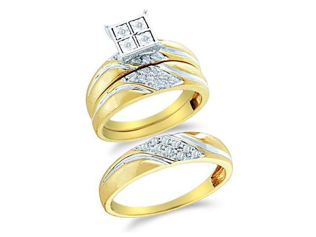 10k Yellow and White 2 Two Tone Gold Trio 3 Three Ring Matching Engagement Wedding Ring Band Set - Round Diamonds - Micro Pave Princess Shape Center Setting (1/4 cttw, H Color, I1 Clarity)