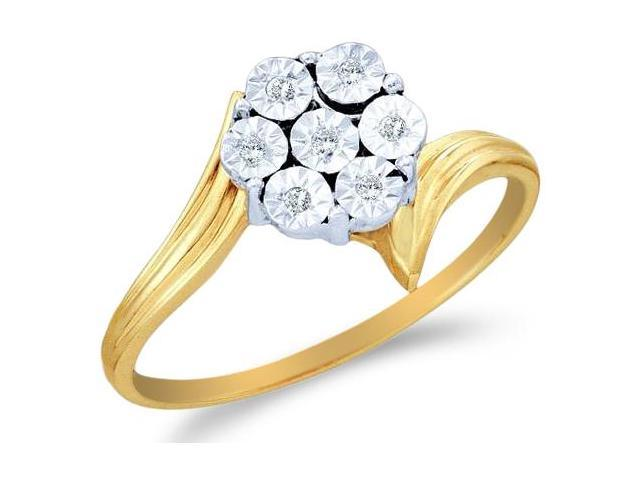 10k Yellow and White Two 2 Tone Gold Pave Set Round Cut Diamond Engagement Ring 8mm (.04 cttw, H Color, I1 Clarity)