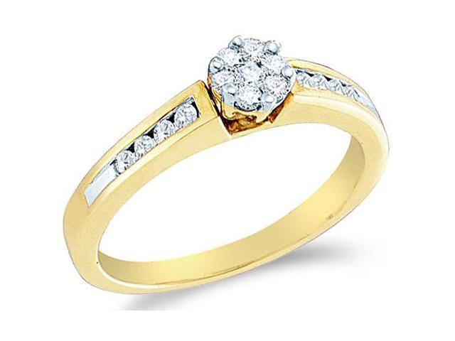 10k Yellow Gold Diamond Engagement Invisible Set Solitaire Style Center Setting Flower Shape Center  with Side Stones Round Brilliant Cut Diamond Ring 5mm (1/4 cttw, H Color, I1 Clarity)