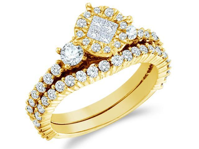 14k Yellow Gold Diamond Engagement Ring Wedding Band Two 2 Ring Set Solitaire Style Center Setting Three 3 Stone Side StonesDiamond Ring23mm (1.37 cttw, G - H Color, SI2 Clarity)