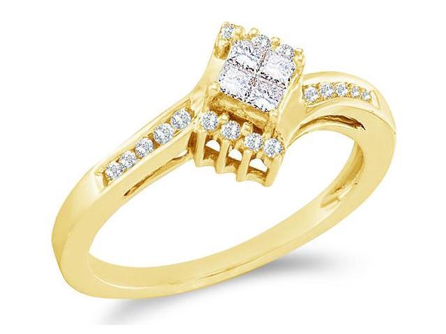 14k Yellow Gold Diamond Engagement Solitaire Invisible Style Center Setting with Side Stones Princess and Round Brilliant Cut Diamond Ring  (1/4 cttw, H Color, I1 Clarity)