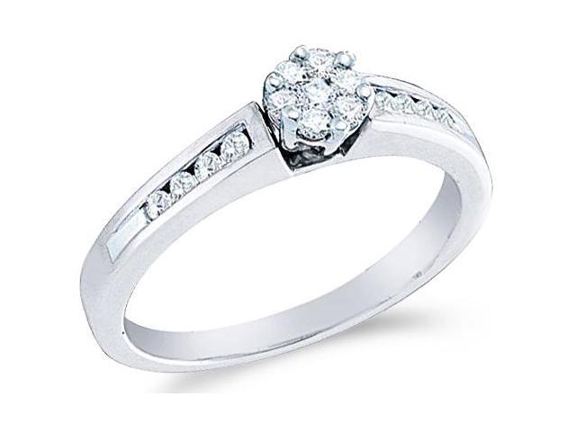10k White Gold Diamond Engagement Invisible Set Solitaire Style Center Setting Flower Shape Center  with Side Stones Round Brilliant Cut Diamond Ring 5mm (1/4 cttw, H Color, I1 Clarity)