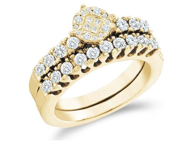 14k Yellow Gold Diamond Engagement Ring Wedding Band Two 2 Ring Set Solitaire Style Center Setting Side Stones Princess and Round Cut Diamond Ring  (.87 cttw, G - H Color, SI2 Clarity)