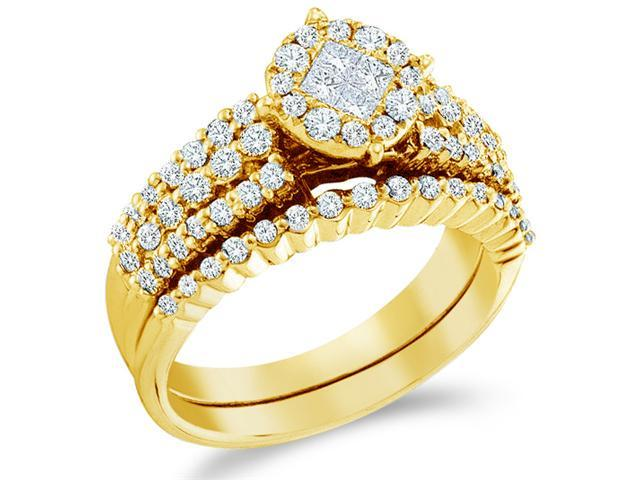 14k Yellow Gold Diamond Engagement Ring Wedding Band Two 2 Ring Set Solitaire Style Center Setting Side Stones Princess and Round Cut Diamond Ring  (1.16 cttw, G - H Color, SI2 Clarity)