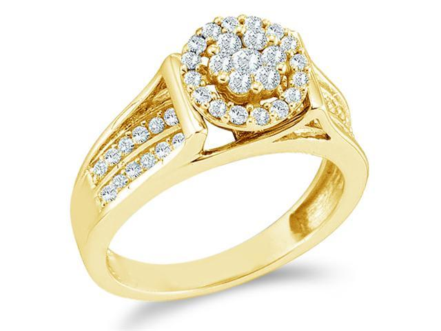 14k Yellow Gold Diamond Engagement Wedding Band Solitaire Style Center Setting Side Stones Flower Shape Center  Halo Round Cut Diamond Ring 9mm (1/2 cttw, G - H Color, SI2 Clarity)