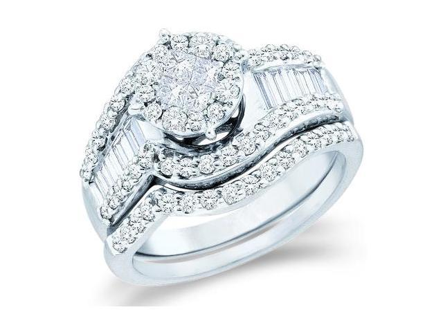 14k White Gold Diamond Ladies Engagement Ring Wedding Band Two 2 Ring Set Solitaire Style Center Setting Side Stones  Diamond Ring 21mm (1.25 cttw, G - H Color, SI2 Clarity)