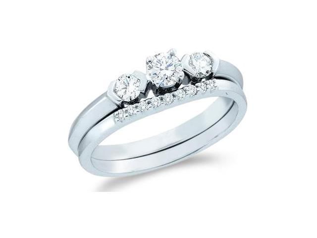 14k White Gold Diamond Engagement Ring Wedding Band Two 2 Ring Set Solitaire Three 3 Stone Style Diamond Ring  (1/2 cttw, 1/5 ct Center, G - H Color, SI2 Clarity)