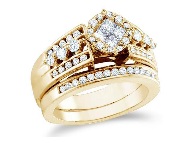 14k Yellow Gold Diamond Engagement Ring Wedding Band Two 2 Ring Set Solitaire Style Center Setting Princess and Round Cut Diamond Ring 23mm (1.11 cttw, G - H Color, SI2 Clarity)