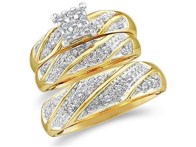 10k Yellow and White 2 Two Tone Gold Trio 3 Three Ring Matching Engagement Wedding Ring Band Set - Round Diamonds - Princess Shape Center Setting  (1/4 cttw, H Color, I1 Clarity)