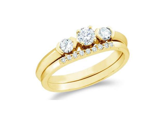 14k Yellow Gold Diamond Engagement Ring Wedding Band Two 2 Ring Set Solitaire Three 3 Stone Style Center Setting Round Cut Diamond Ring  (1/2 cttw, 1/5 ct Center, G - H Color, SI2 Clarity)