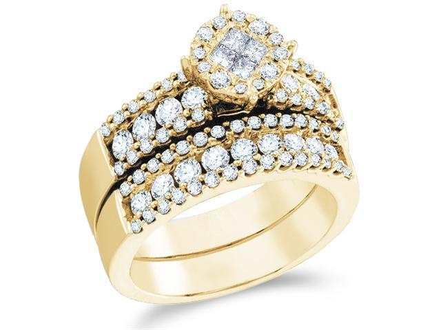 14k Yellow Gold Diamond Engagement Ring Wedding Band Two 2 Ring Set Solitaire Style Center Setting Large Princess and Round Cut Diamond Ring 22mm (1.72 cttw, G - H Color, SI2 Clarity)