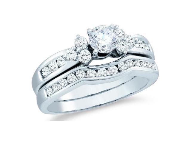 14k White Gold Diamond Ladies Engagement Ring Wedding Band Two 2 Ring Set Solitaire Side Stones Round Brilliant Cut Diamond Ring  (1.01 cttw, 2/5 ct Center, G - H Color, SI2 Clarity)