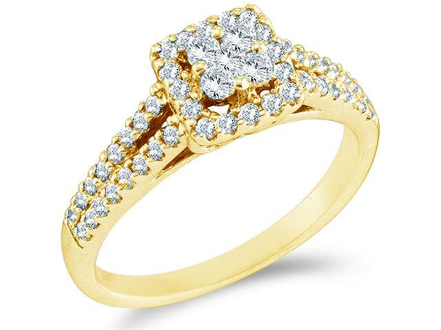 14k Yellow Gold Diamond Engagement Invisible Set Solitaire Style Center Setting with Side Stones Halo Round Brilliant Cut Diamond Ring 6mm (1/2 cttw, G - H Color, SI2 Clarity)