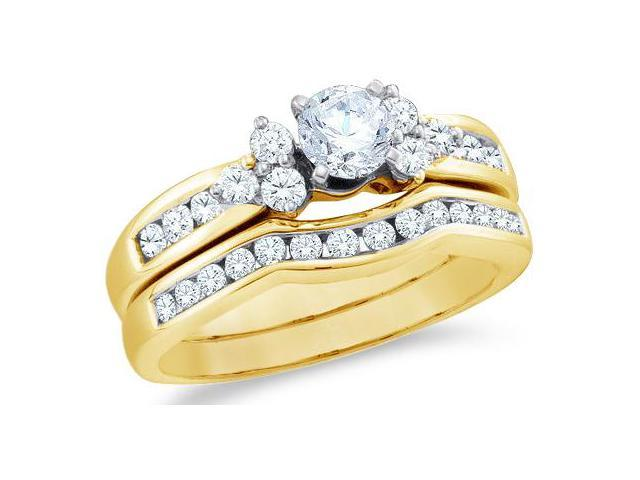14k Yellow Gold Diamond Ladies Engagement Ring Wedding Band Two 2 Ring Set Solitaire Side Stones Round Brilliant Cut Diamond Ring  (1.01 cttw, 2/5 ct Center, G - H Color, SI2 Clarity)