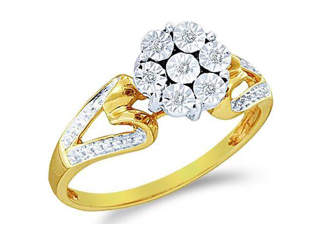 10k Yellow and White Two 2 Tone Gold Heart Shape Sides Pave Set Round Cut Diamond Engagement Ring 8mm (.04 cttw, H Color, I1 Clarity)