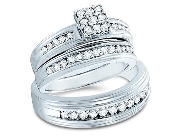 14k White Gold Trio 3 Three Ring Matching Engagement Wedding Ring Band Set - Round Diamonds - Princess Shape Center Setting w/ Side Stones (1.0 cttw, H Color, I1 Clarity)